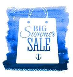 Summer sale poster on handdrawn watercolor texture vector