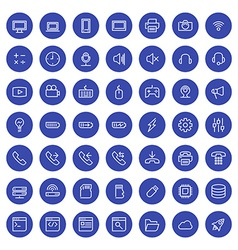Thin line technology icons set for web and mobile vector image