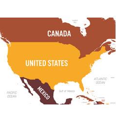 Usa map - brown orange hue colored on dark vector