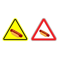 Warning attention hot dog sign Dangers yellow vector image