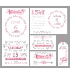 Watercolor wedding invitation setPinkswirling vector