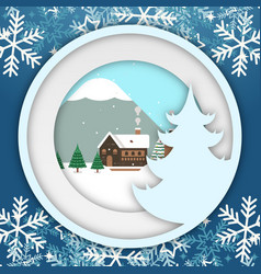 Winter snowflake christmas circle photoframe vector