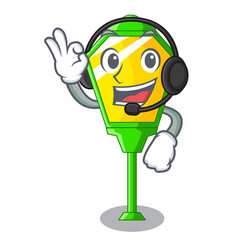 with headphone character a lamp in post style vector image
