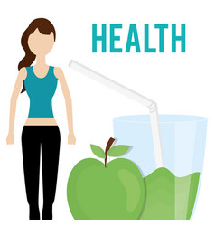 woman and fresh apple and juice health food vector image