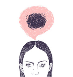 Woman s head thought bubble and scribbles inside vector