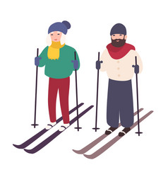 young couple skiing together happy smiling man vector image