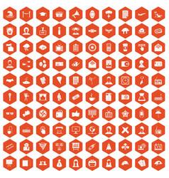 100 journalist icons hexagon orange vector