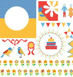 Birthday or party greeting set - frames icons vector image