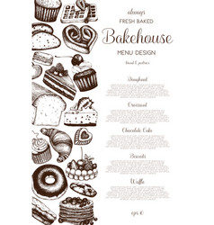 hand drawn baking design vector image vector image