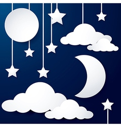 moon and cloud paper vector image vector image