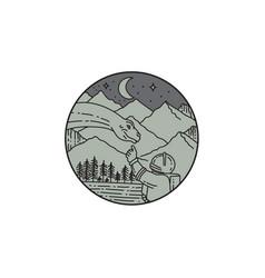 astronaut touching brontosaurus circle mono line vector image vector image