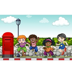 Children doing hip hop dance on the sidewalk vector image vector image
