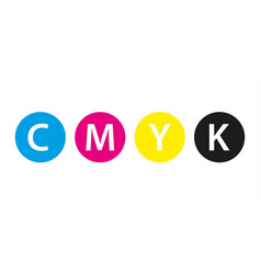 cmyk print concept four circles in cmyk colors vector image vector image