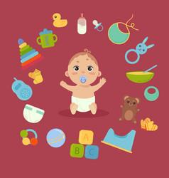cute little baby in diaper with newborn essentials vector image