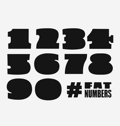 fat numbers set in black shape vector image
