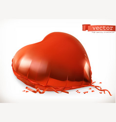 red heart toy balloon 3d icon vector image