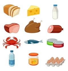 Set of food and products icons Isolated on white vector image vector image