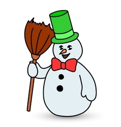 Snowman on white background vector image
