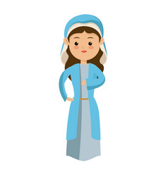 cute virgin mary character manger christmas vector image