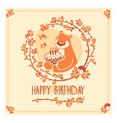 Happy birthday greeting card with cute bear vector