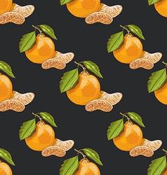 Seamless pattern with mandarins on dark background vector image