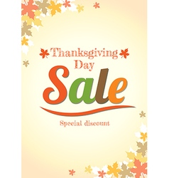 Thanksgiving day sale poster vector image