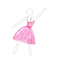 Watercolor dancing girl vector
