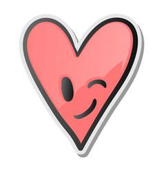 Winking heart sticker emoji smiling face emoticon vector