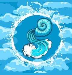 zodiac sign of aquarius in air circle vector image