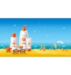 Sun protection cosmetics for family on the beach vector