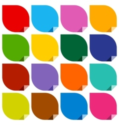 16 colored blank stickers vector