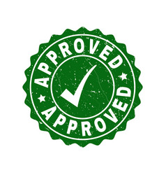 Approved scratched stamp with tick vector