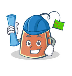 Architect tea bag character cartoon art vector