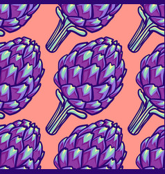 artichoke violet flower head seamless pattern vector image