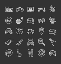 Auto workshop chalk icons set vector