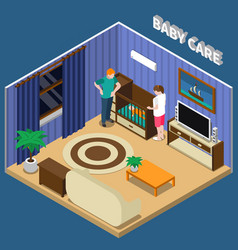 baby care isometric composition vector image