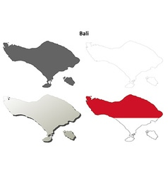 Bali blank outline map set vector image