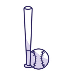Baseball bat and ball equipment isolated icon vector