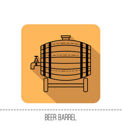 beer wooden barrel with a tap black linear flat vector image
