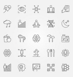 Biohacking icons set in thin line style vector