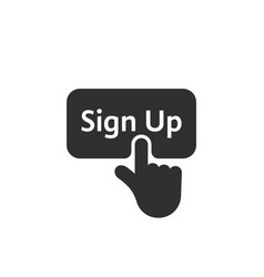 Black simple finger presses on sign up button vector