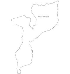 Black White Mozambique Outline Map vector image