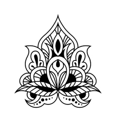 Bold black and white floral persian design vector
