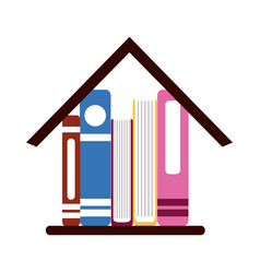 Books in house learning home education flat style vector