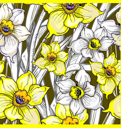 botanical seamless pattern with flowers of vector image