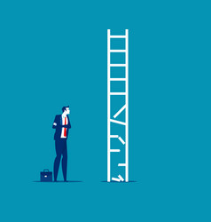 Business person look at broken ladder obstacle vector