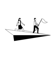 businessman and woman with flag on paper plane vector image