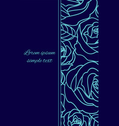 Card with pale blue outline roses on the navy blue vector