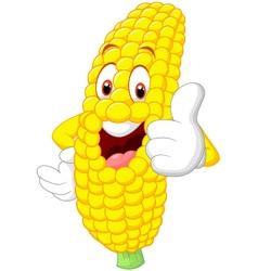 Cartoon happy corn giving thumb up vector