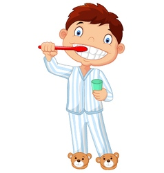 Cartoon little boy brushing his teeth vector